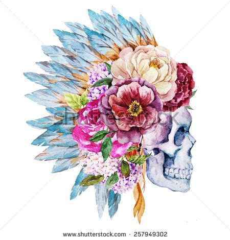 mexican skull flowers watercolor buscar con google