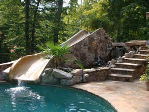 Stone Patio Bench Design Stone Pool With Water Slide