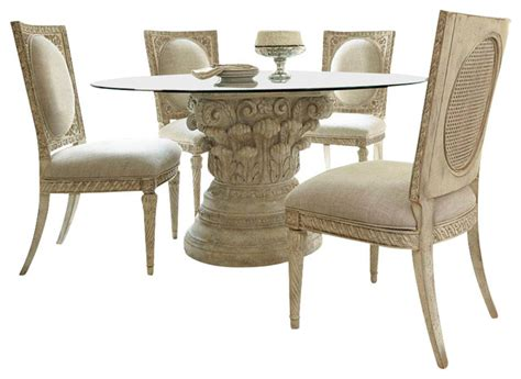 jessica mcclintock dining room set hammary jessica mcclintock 5 piece round glass dining room set in white veil traditional