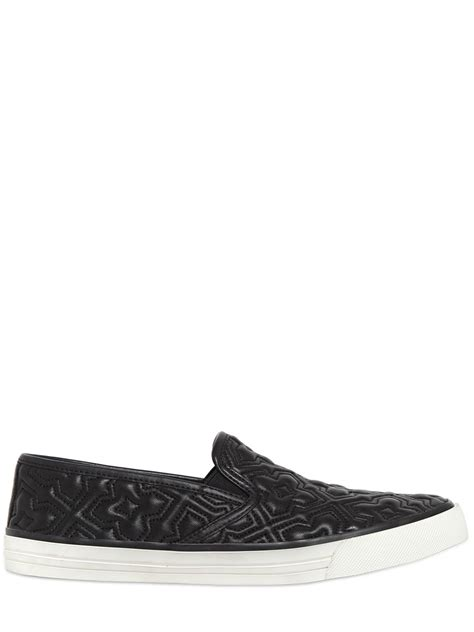 burch quilted leather slip on sneakers in black