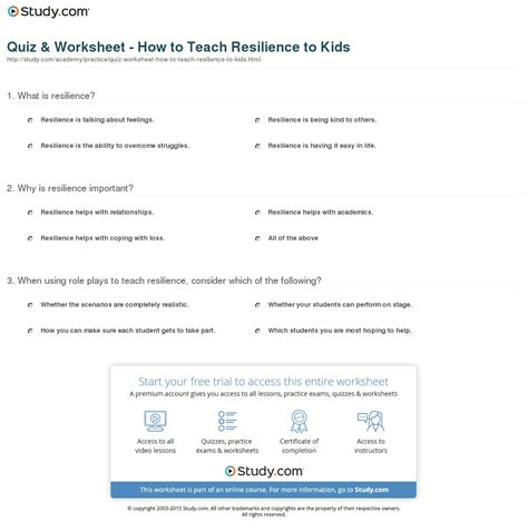 printable resiliency quiz resilience worksheets for adults the best and most