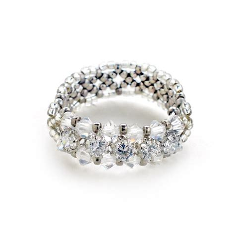 ring kits jewelry miyuki cubic zirconia silver line ring seed bead kit