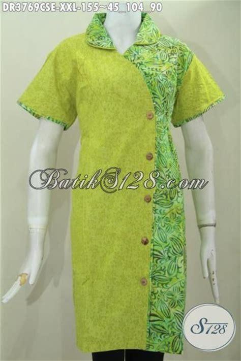 baju batik dress size jumbo lengan pendek busana batik wanita gemuk warna hijau muda dual motif
