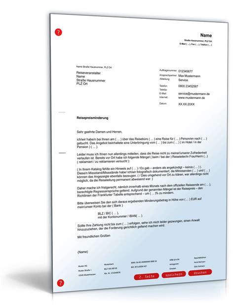 Reklamation Brief Vorlage Beschwerde Reise Preisminderung Vorlage Zum