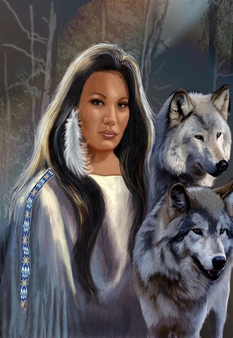 native american maiden with wolves painting by regina femrite