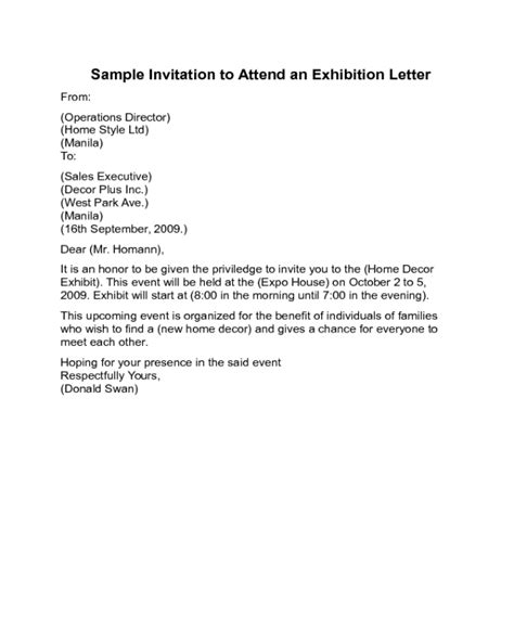 Invitation Letter For Pdf invitation letter for exhibition pdf gallery invitation