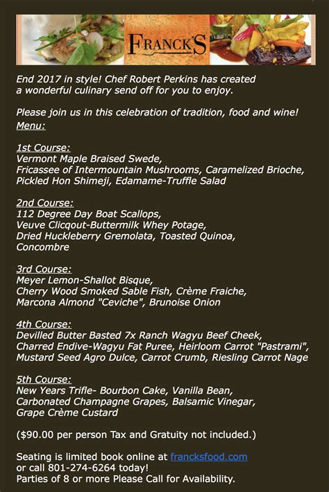 new year 2017 menu francks new years 2017 menu slc menu