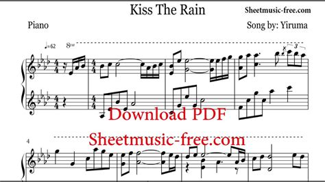 tutorial keyboard kiss the rain kiss the rain sheet music yiruma youtube