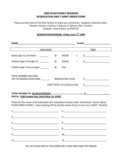 family reunion t shirt order form template family reunion t shirt order forms pictures to pin on