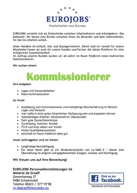 Bewerbung Im Bereich Versand Kommissionierer Rankweil In Vorarlberg