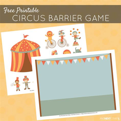 printable barrier games free printable circus barrier game for speech therapy
