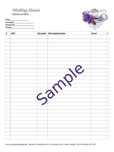 bridal shower gift record template wedding gift recorder bridal shower wedding shower gift