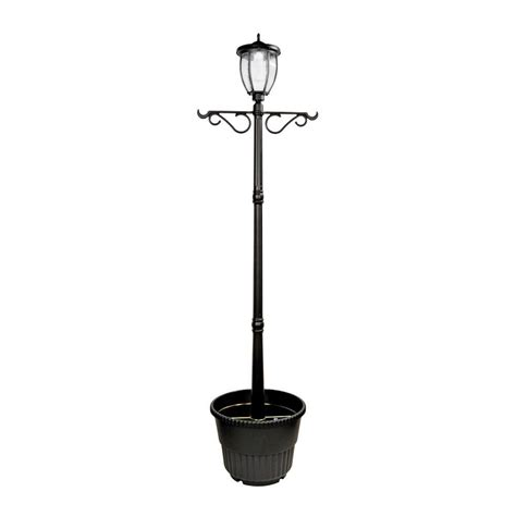 Nature Power Solar Powered Outdoor Led Black L Post Solar Light Post