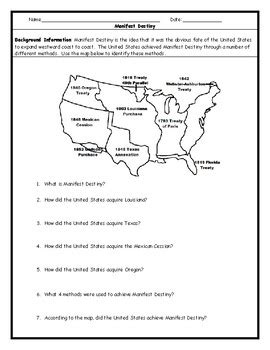 manifest destiny map worksheet with answer key by jmr