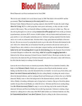 Blood Diamonds Essay by Resum 233 Af Blood Studienet Dk