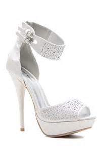silver glitter piped ankle strap peep toe platform heels