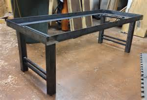 Wood And Wrought Iron Bench Metal Frame Round Wood Studio