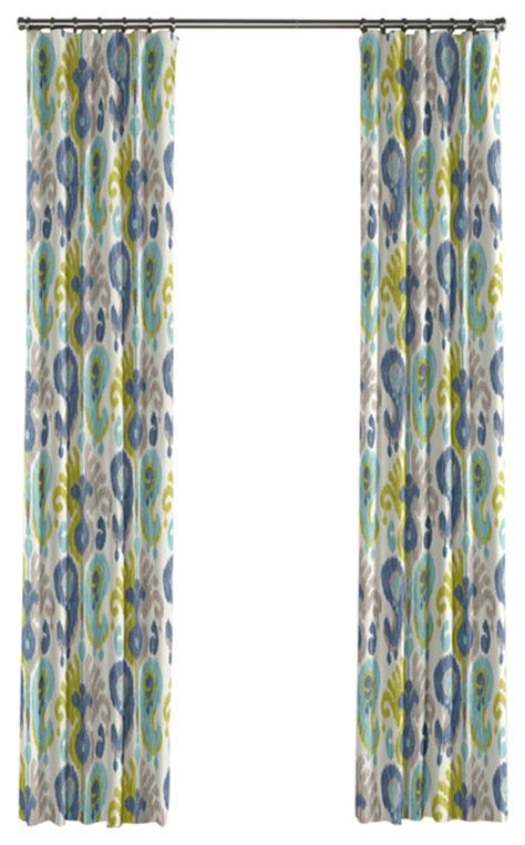 blue green curtains aqua blue and green ikat curtain single panel ring top
