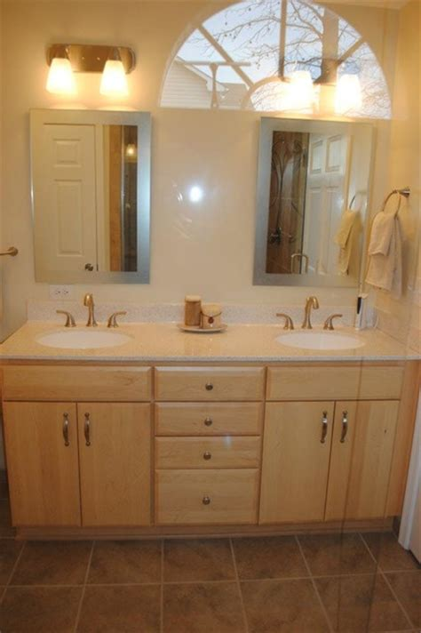 brushed nickel bathroom cabinet maple cabinets polystone top delta fixtures in