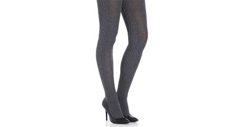 cable knit sweater tights lyst memoi cable knit side panel sweater tights in gray