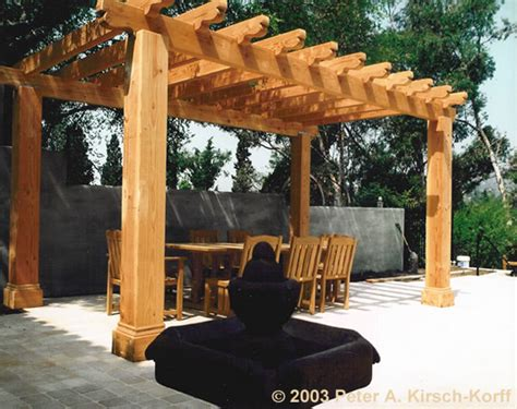 Mission Style Wood Dining Pergola Los Angeles Ca Wood Pergola Designs