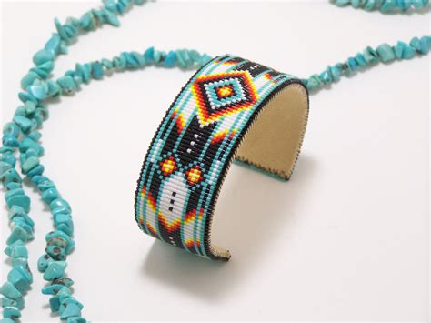 beaded cuffs american beaded cuff bracelet in turquoise by