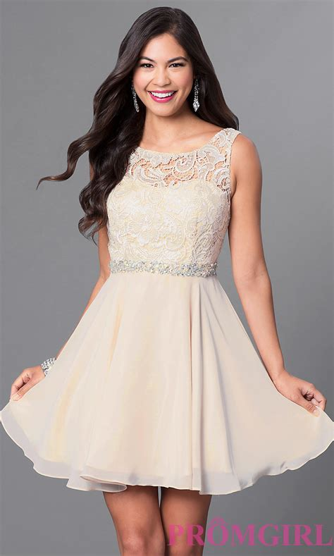Dress Fore a line lace bodice homecoming dress promgirl