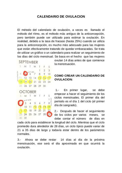 Calendarios De Ovulacion Calendario De Ovulaci 243 N