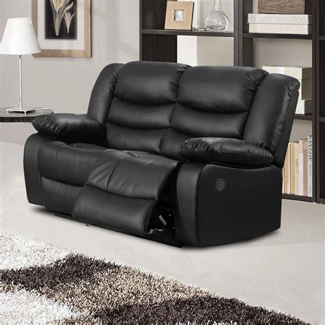Black Leather Electric Recliner Sofa Belfast Black Premium Bonded Leather Electric Recliner Sofa Collection