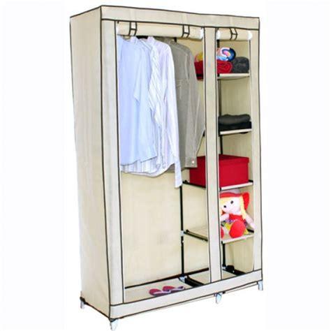canvas wardrobe w hanging rail storage shelves