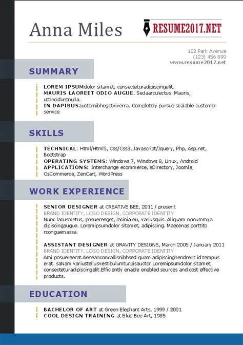 Resume 2017 Templates by Resume Format 2017 16 Free To Word Templates