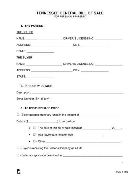 tennessee boat bill of sale pdf free tennessee general bill of sale form word pdf