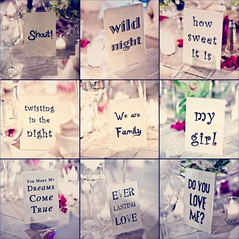 table name table names for wedding reception song titles when the