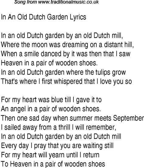 song in 1940s top songs lyrics for in an garden glen