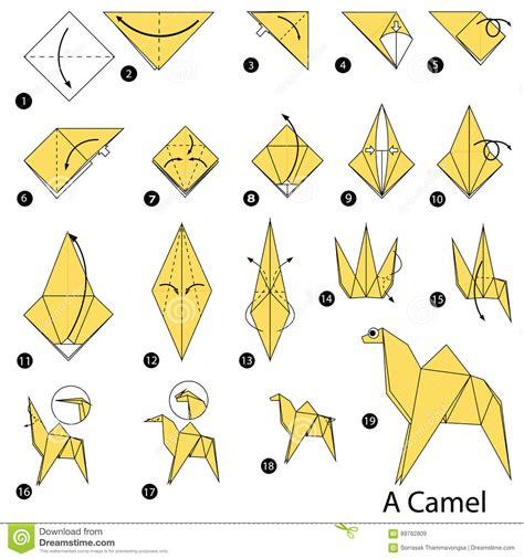 step by step how to make origami a camel