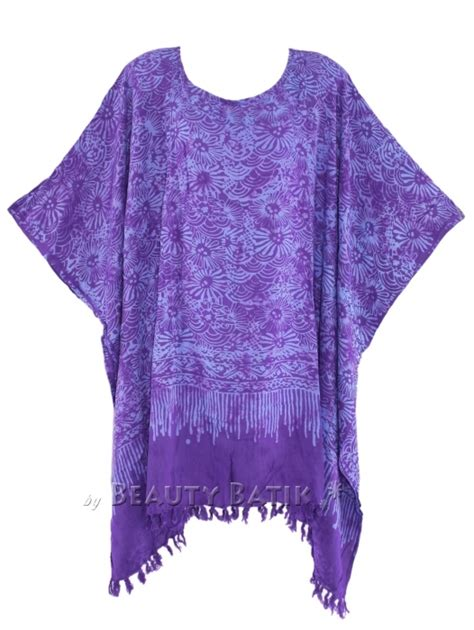 Kaftan Batik 24 purple batik kaftan poncho tunic top blouse plus size 1x