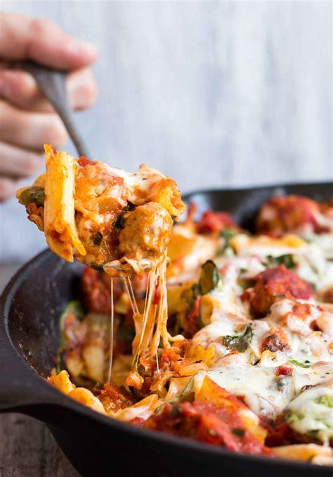 pasta skillet  chicken sausage cheese spinach