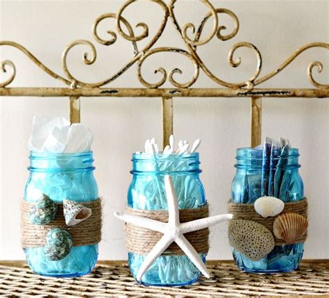 diy beach bathroom diy beach themed bathroom mason jar storage set craft