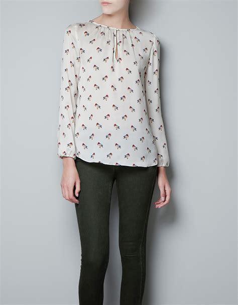 zara bird zara bird print blouse in white ecru lyst