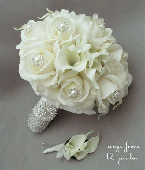 Bridal Bouquets Real Flowers by Silk Flower Bridal Bouquet Silk Stephanotis Real Touch