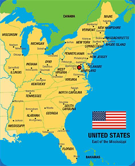 Map Of Eastern Us States by Large Map Of Eastern United States Bing Images