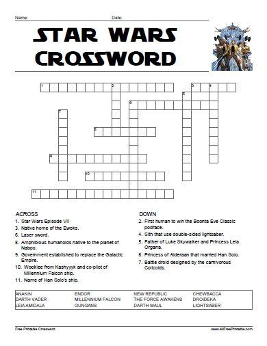 printable star wars trivia quiz star wars crossword all free printable pinterest