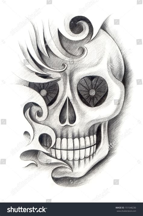 how to draw tattoo designs on paper skull drawing on paper stock illustration