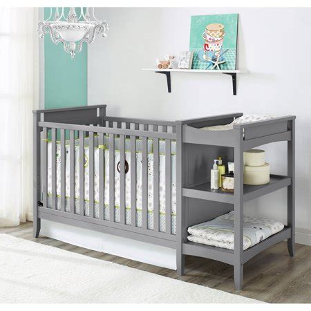 baby relax 2 in 1 crib and changing table combo gray