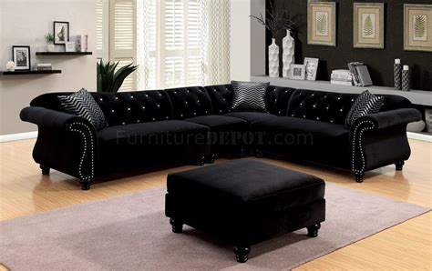 and black sectional jolanda ii sectional sofa cm6158bk in black fabric w options