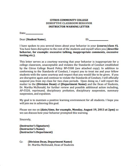 letter of conduct template warning letter template 9 free word pdf document