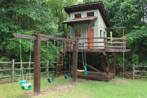 Diy Home Playground Ideas Outdoor Playhouse With Swing Set Playhouse Swingclick