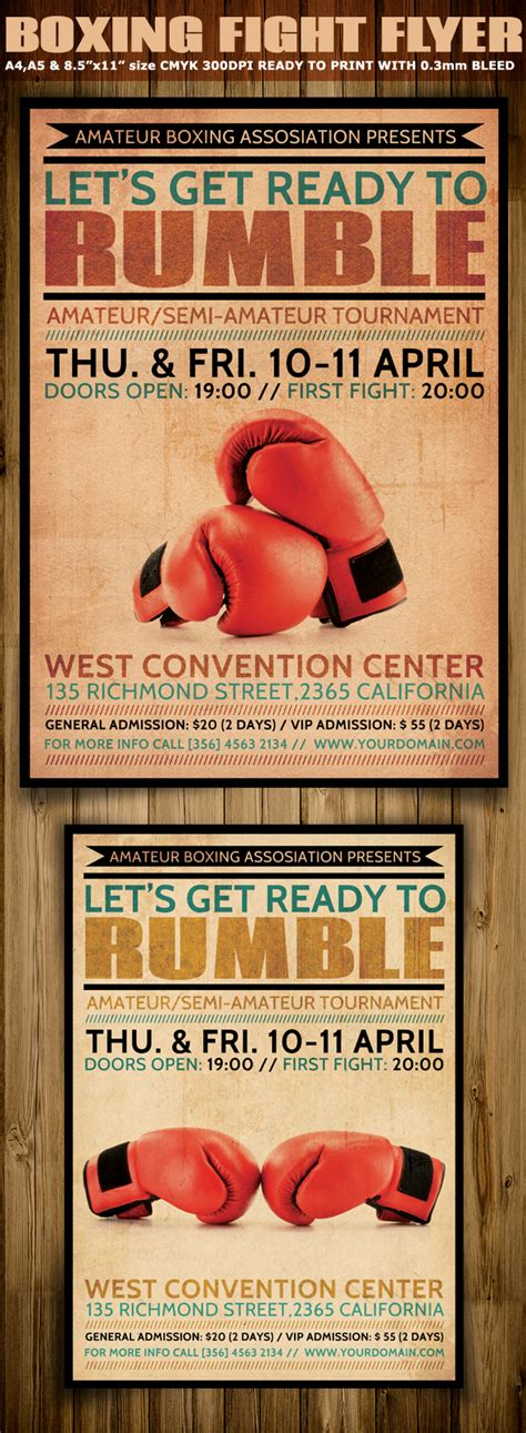 vintage boxing poster template boxing flyer template flyerstemplates