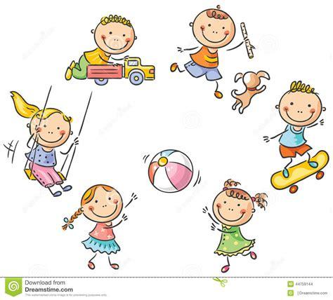 Kinder, Die Draußen Spielen Vektor Abbildung   Bild: 44759144