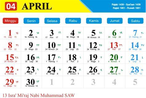Kalender Indonesia Tahun 2018 Kalender Bulan April 2018 Kalender Tahun 2018